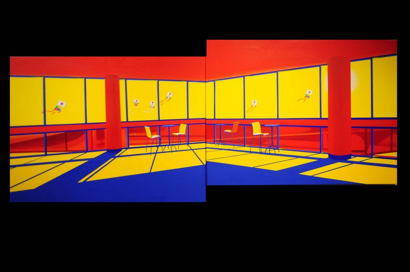 Moving in the Shadows (Diptych)   Acrylic on Canvas   96X36 in   2012