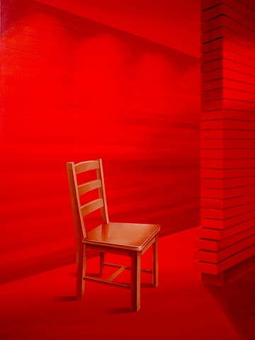 Chair Series Red Space   Acrylic on Canvas   30 X 40 in   2013