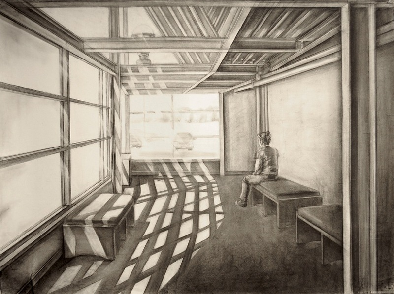 The hallway | Charcoal on the paper | 54X46 in | 2013